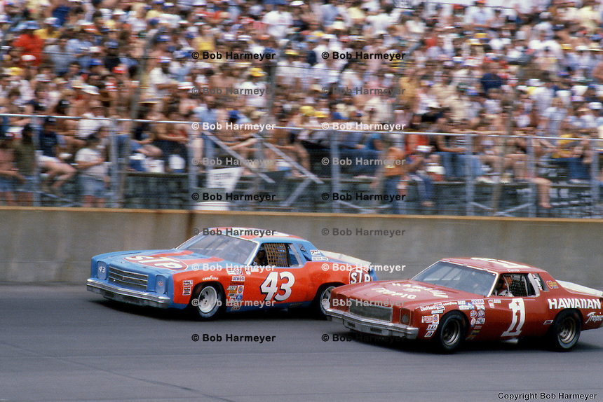 Richard Petty (43) and Donnie Allison (1) during the 1979 NASCAR race at Michigan International Speedway near Brooklyn, Michigan.
