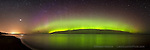 Northern Lights aurora borealiz multi colored curtain over Lake Superior, Marquette M. Epson International Pano Bronze Award Winner, 2012