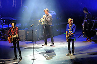 """Mick Jagger, Keith Richards and Ronnie Wood, on stage with choir and French Horn player, singing """"You Can't Always Get What You Want"""". 14 on Fire tour, Perth, Western Australia"""