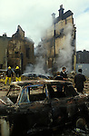 Brixton Riots. South London Uk April 1981. Burntout destroyed building.
