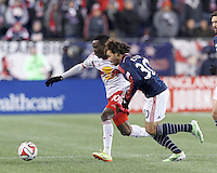 Foxborough, Massachusetts - November 29, 2014: In Major League Soccer (MLS) Eastern Conference aggregate goal final, the New England Revolution (blue/white) tied New York Red Bulls (white/red), 2-2, at Gillette Stadium and advance to the MLS Cup finals with aggregate goals of 4-3 (2-2 and 2-1).