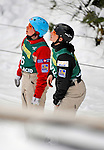 19 January 2008: Veronika Bauer (left) and teammate Amber Peterson (right), both jumping for Canada, look uphill at the kickers prior to the Qualification Round of the FIS World Cup Freestyle Ladies' Aerial Competition at the MacKenzie Ski Jump Complex in Lake Placid, New York, USA...Mandatory Photo Credit: Ed Wolfstein Photo