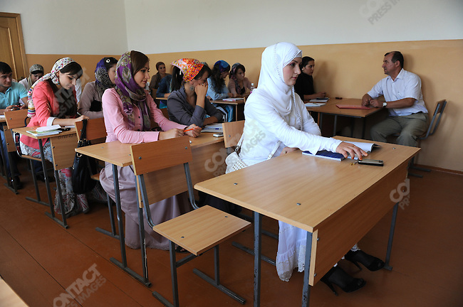 Students in a class at the journalism faculty of the Chechen State University in Grozny. Chechnya, September 8, 2011