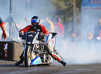 Jun 3, 2016; Epping , NH, USA; NHRA top fuel Harley motorcycle rider Tii Tharpe during qualifying for the New England Nationals at New England Dragway. Mandatory Credit: Mark J. Rebilas-USA TODAY Sports