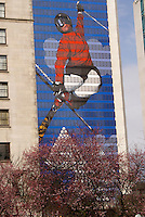 Mural on the side of a building showing an Olympic skier in the 2010 Winter Games, Vancouver, British Columbia Canada.