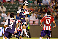 Pachuca FC defender Daniel Arreola (14) heads a ball out of the box. USA Chivas USA defeated Pachuca FC 1-0 during 2010 SuperLiga group play at Home Depot Center stadium in Carson, California Wednesday July 21, 2010.
