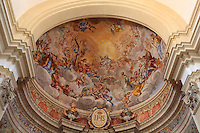 Looking up at the semi-cupola of the apse of St Ignatius Church or the Jesuit Church, built 1699-1703 by Ignazio Pozzo, with Baroque frescoes with angels in heaven painted by Gaetano Garcia, Old Town, Dubrovnik, Croatia. The city developed as an important port in the 15th and 16th centuries and has had a multicultural history, allied to the Romans, Ostrogoths, Byzantines, Ancona, Hungary and the Ottomans. In 1979 the city was listed as a UNESCO World Heritage Site. Picture by Manuel Cohen