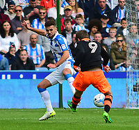 Huddersfield Town's Tommy Smith blocks a shot from Sheffield Wednesday's Adam Reach<br /> <br /> Photographer Andrew Vaughan/CameraSport<br /> <br /> The EFL Sky Bet Championship Play-Off Semi Final First Leg - Huddersfield Town v Sheffield Wednesday - Saturday 13th May 2017 - The John Smith's Stadium - Huddersfield<br /> <br /> World Copyright &copy; 2017 CameraSport. All rights reserved. 43 Linden Ave. Countesthorpe. Leicester. England. LE8 5PG - Tel: +44 (0) 116 277 4147 - admin@camerasport.com - www.camerasport.com