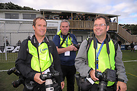 Photographers Hagen Hopkins (Getty Images), Dave Webster (thejourneyfan blog) and Marty Melville (Photosport) during the Oceania Football Championship final (second leg) football match between Team Wellington and Auckland City FC at David Farrington Park in Wellington, New Zealand on Sunday, 7 May 2017. Photo: Dave Lintott / lintottphoto.co.nz