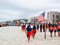 """LONG BEACH, Long Island/New York (Friday, September 11, 2011)    Long Beach Hosts 9/11 Memorials. At 10 a.m. - A beach mass and ecumenical service was held at National Boulevard beach..followed by a Paddle Out with fire department, police department, military and lifeguards at National Boulevard beach to honor the fallen on 9/11.           .Local surfers  were joined by professional surfers from the Quiksilver Pro New York in the """"paddle out"""" tribute to the victims of 9/11/01 at Long Beach New York and Rockaway Beach NY on 9/11/02. Many firefighters and police who died in the attack lived in Long Beach and Rockaway and were surfers..Over 350 surfers paddled out..   Photo: joliphotos.com"""