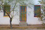 Old doorway and windows in the Barrio Historico, the historical section of Tucson, Arizona, dating to the 1800s