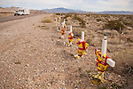 Road-side shrine (memorial) along Highway US 95 as a tribute to Mexican soccer team who perished there in southern Nye Co.