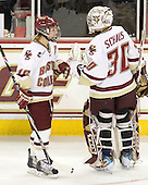 Kelli Stack (BC - 16), Molly Schaus (BC - 30) - The Boston College Eagles defeated the visiting Northeastern University Huskies 2-1 on Sunday, January 30, 2011, at Conte Forum in Chestnut Hill, Massachusetts.