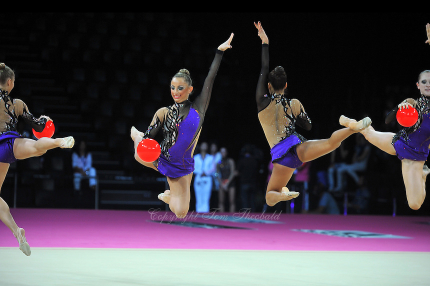 September 24, 2011; Montpellier, France;  USA group performs with 5-balls at 2011 World Championships Montpellier. Photo by Tom Theobald.