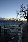 Promenade on the shore of the lake Léman, Vevay close to Montreux,Lausanne Switzerland.