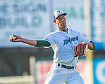 1 September 2013: Vermont Lake Monsters pitcher Lee Sosa makes a play to first during a game against the Connecticut Tigers at Centennial Field in Burlington, Vermont. The Lake Monsters fell to the Tigers 6-4 in 10 innings of NY Penn League action. Mandatory Credit: Ed Wolfstein Photo *** RAW Image File Available ****
