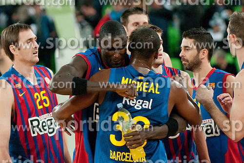 Pete Mickeal of FC Barcelona Regal and Boniface Ndong of FC Barcelona Regal during basketball match between KK Union Olimpija and FC Barcelona Regal of 1st Round in Group D of Regular season of Euroleague 2011/2012 on October 20, 2011, in Arena Stozice, Ljubljana, Slovenia. Barcelona Regal defeated Union Olimpija 86:64. (Photo by Matic Klansek Velej / Sportida)