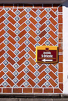 Talavera tiles on a building facade the city of Puebla, Mexico. The historical center of Puebla is a UNESCO World Heritage Site.