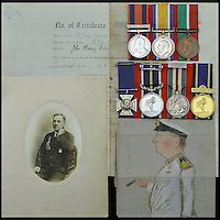 BNPS.co.uk (01202 558833)<br /> Pic: DixNoonanWebb/BNPS<br /> <br /> The medals of a hero captain who dived into shark infested waters during a monsoon to rescue a seaman who had been swept overboard have emerged for auction.<br /> <br /> Captain John Henry Collin of the Merchant Navy was fully aware there were several sharks circling the vessel when, without hesitating, he jumped into the Red Sea.<br /> <br /> Showing a complete disregard for his own well-being, he swam after a distressed seaman who was stranded in the sea and hauled him back on to the boat. <br /> <br /> The seaman survived and Capt Collin, in recognition of his bravery, was awarded the Stanhope Gold Medal for 1896 which was given for the most heroic rescue.
