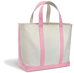 pink and white canvas bag