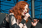 Garbage lead singer Shirley Manson performs during the band's set on the main stage at the 2012 KROQ Weenie Roast y Fiesta at Verizon Wireless Amphitheater.