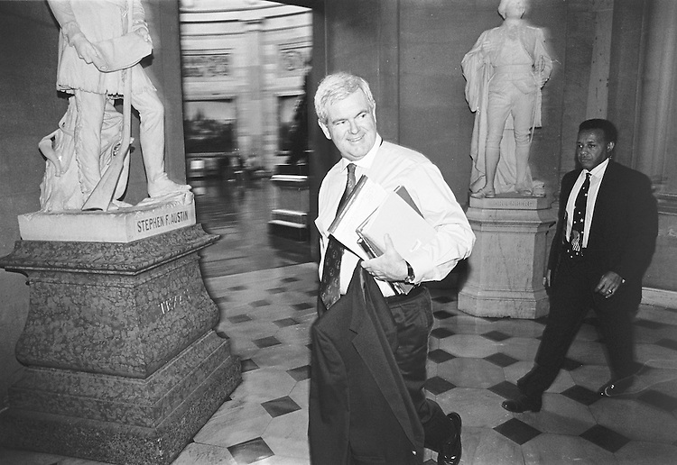Speaker of the House Newt Gingrich, walks to his office on the last day he would serve in that leadership role.  ...Rebecca Roth/@Roll Call