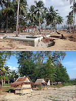 A tsunami struck the coast of Thailand on the morning of December 26. 2004. The destruction was great in  Khao Lak, north of Phuket, were thousands of tourists and locals died. Large holiday resorts were reduced to rubble...Pakarang Blue Village resort was totally wiped out. Today a new resort, Apsara, is in the same location. However where many of the bungalows were no reconstruction has been made. ..