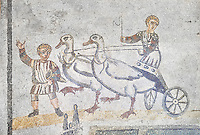 Roma children's chariot race from The Vestibule of The Smnall Circus, room no 41 - Roman mosaics at the Villa Romana del Casale which containis the richest, largest and most complex collection of Roman mosaics in the world, circa the first quarter of the 4th century AD. Sicily, Italy. A UNESCO World Heritage Site.