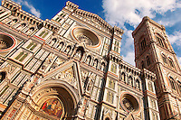 The Dome Catheral - Detail Of facade and bell tower ; Florence Italy