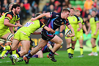 Sam Simmonds of Exeter Chiefs takes on the Leicester Tigers defence. Anglo-Welsh Cup Final, between Exeter Chiefs and Leicester Tigers on March 19, 2017 at the Twickenham Stoop in London, England. Photo by: Patrick Khachfe / JMP