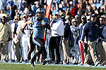 15 November 2014: UNC's Ryan Switzer races down the field untouched for a 63 yard touchdown reception. The University of North Carolina Tar Heels hosted the University of Pittsburgh Panthers at Kenan Memorial Stadium in Chapel Hill, North Carolina in a 2014 NCAA Division I College Football game. UNC won the game 40-35.