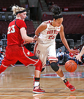 Ohio State Buckeyes forward Martina Ellerbe (23) gets by Nebraska Cornhuskers forward Emily Cady (23) with an around the back dribble on her way to the basket in first half play at Value City Arena on February 20,  2014. (Chris Russell/Dispatch Photo)