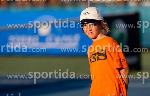 Ball boy at 2nd Round of Singles at Banka Koper Slovenia Open WTA Tour tennis tournament, on July 22, 2010 in Portoroz / Portorose, Slovenia. (Photo by Vid Ponikvar / Sportida)