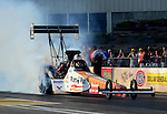May 18, 2012; Topeka, KS, USA: NHRA top fuel dragster driver Clay Millican during qualifying for the Summer Nationals at Heartland Park Topeka. Mandatory Credit: Mark J. Rebilas-