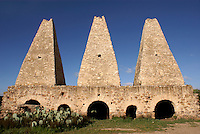 16th century smelters or hornos at the abandoned Mina Santa Brigida mine, Mineral de Pozos, Guanajuato, Mexico. These smelting ovens were built by the Jesuits.