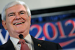 Newt Gingrich at his victory party after winning the South Carolina primary in late January. South Carolina and Georgia are the only primaries Gingrich has won so far.