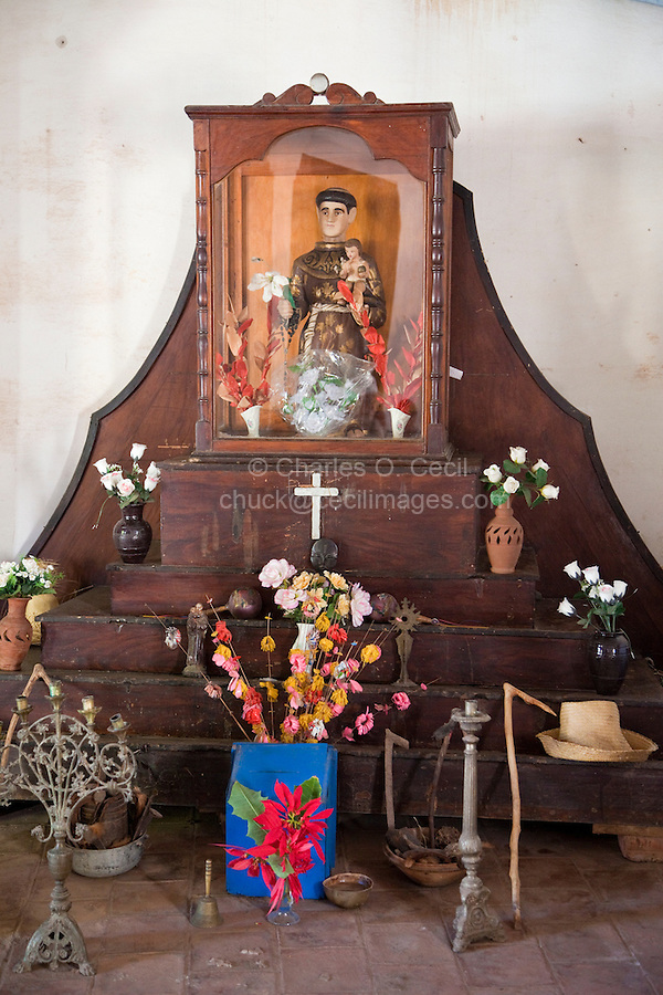 Cuba, Trinidad.  An Altar to St. Anthony, San Antonio, in a Room where Afro-Cuban Religious Ceremonies are Practiced.