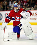 10 April 2010: Montreal Canadiens' goaltender Carey Price warms up prior to the last game of their regular season against the Toronto Maple Leafs at the Bell Centre in Montreal, Quebec, Canada. The Leafs defeated the Habs 4-3 in sudden death overtime, as the Canadiens advance to the Stanley Cup Playoffs with the single point. Mandatory Credit: Ed Wolfstein Photo