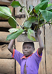Rose Namigwanya, 8, carries banana plants on her head in Kabulasoke, Uganda, where the Ntulume Village Women Development Association has trained women in improved agricultural practices, thus increasing food security and empowering women and children. The project was supported by funding from the Call to Prayer and Self-Denial of United Methodist Women.
