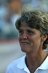 Head coach Pia Sundhage at Nickerson Field in Boston MA on 7/13/03 during a game between the Boston Breakers and Philadelphia Charge. The Breakers won 3-1.