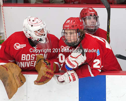 Anthony Moccia (BU - 1), Brien Diffley (BU - 20), John MacLeod (BU - 16) - The players being evaluated for the US Under-20 World Juniors team defeated the Boston University Terriers 5-2 (EN) on Friday, December 19, 2014, at Walter Brown Arena in Boston, Massachusetts.