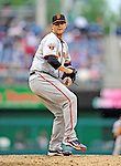 1 May 2011: San Francisco Giants pitcher Dan Runzler on the mound against the Washington Nationals at Nationals Park in Washington, District of Columbia. The Nationals defeated the Giants 5-2. Mandatory Credit: Ed Wolfstein Photo