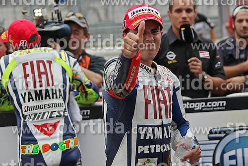 10.10.2010, Kuala Lumpur, MYS, MotoGP, Motomondiale Malaysia, im Bild Celebration of Jorge Lorenzo - Fiat Yamaha team. EXPA Pictures © 2010, PhotoCredit: EXPA/ InsideFoto/ Semedia +++++ ATTENTION - FOR AUSTRIA AND SLOVENIA CLIENT ONLY +++++