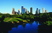 Stock photo of the Houston, Texas skyline from Buffalo Bayou