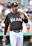 13 March 2012: Miami Marlins Manager Ozzie Guillen comes out of the dugout to discuss a call during a Spring Training game against the Atlanta Braves at Roger Dean Stadium in Jupiter, Florida. The two teams battled to a 2-2 tie playing 10 innings of Grapefruit League action. Mandatory Credit: Ed Wolfstein Photo
