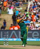 15.02.2015. Hamilton, New Zealand.  South Africa's Faf du Plessis hits a six during the ICC Cricket World Cup match - South Africa versus Zimbabwe at Seddon Park, Hamilton, New Zealand on Sunday 15 February 2015.
