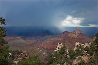749220330 several monsoon summer storm sweep across several geological formations in this view from valhalla overlook on the north rim of grand canyon national park arizona united states