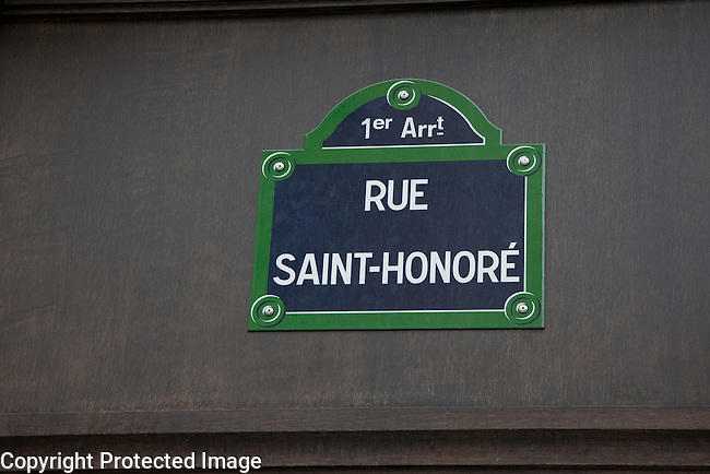 The Sign of the Famous Fashion Street of Saint Honore in Paris, France