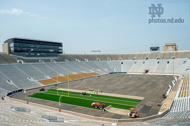 Jul. 22, 2014; Installation of field turf in Notre Dame Stadium.<br /> <br /> Photo by Matt Cashore/University of Notre Dame