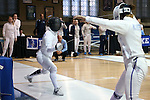 12 February 2017: UNC's Justine de Grasse (left) and Northwestern's Aahana Chatterjee (right) during their Epee match. The University of North Carolina Tar Heels played the Northwestern University Wildcats at Card Gym in Durham, North Carolina in a 2017 College Women's Fencing match. UNC won the dual match 15-12 overall, 5-4 Foil, 5-4 Epee, and 5-4 Saber.